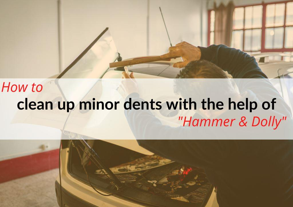 Using a Hammer & Dolly method to get car trunk dents out.